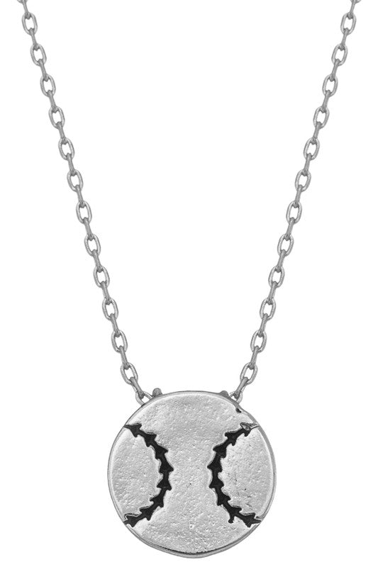 Silver Baseball Necklace