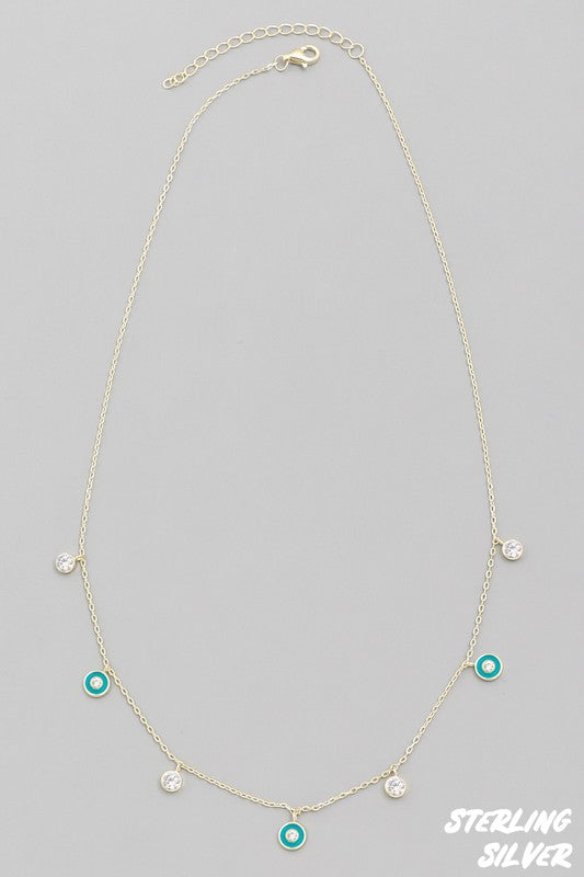 Dainty Sterling Silver Jewel Necklace