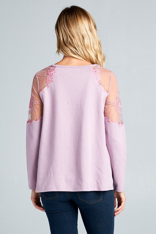 Lilac Floral Embroidered Sheer Sleeve Top
