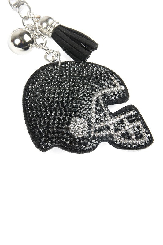 Black Football Helmet Keychain
