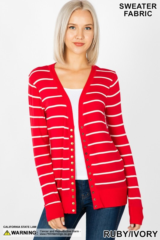 Red Stripe Snap Cardigan