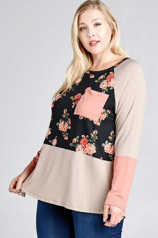 Black Floral Pocket Raglan Top