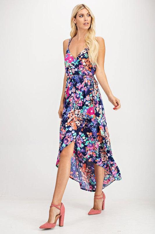 Navy Floral Maxi Dress Double Spaghetti Strap