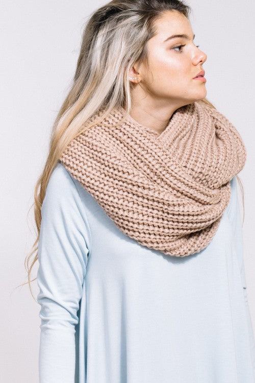 Tan Infinity Loop Knit Scarf
