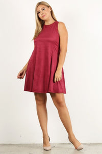 Plus Brick Faux Suede Sleeveless Dress