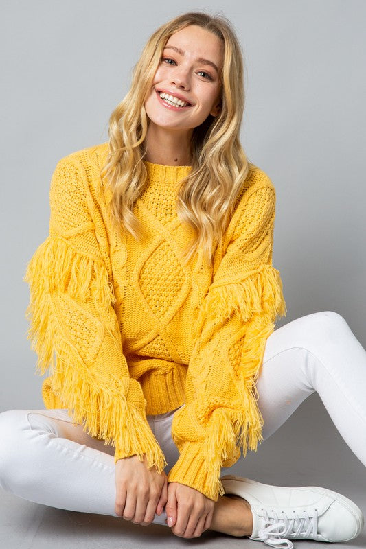 Yellow Fringe Sleeve Cable Knit Sweater