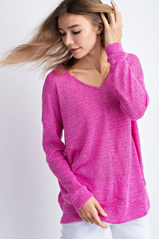 Pink Peacock V-Neck Top