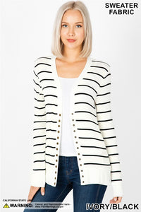 Ivory Stripe Snap Cardigan
