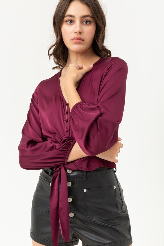 Burgundy Long Sleeve Buttoned and Knotted Silky Top