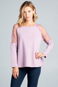 Plus Lilac Floral Embroidered Sheer Sleeve Top