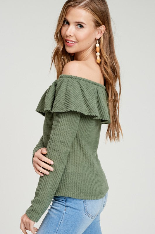 Olive Off Shoulder Ruffle Waffle Knit Top