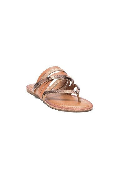 """Ethel"" Tan Metallic Strappy Sandal"