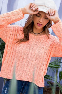 Neon Coral Round Neck Sweater