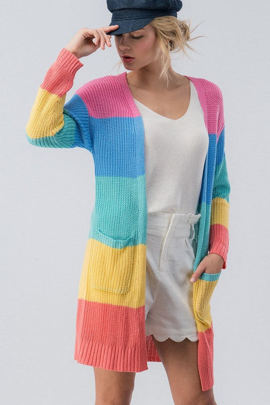 Colorful Color Block Cardigan
