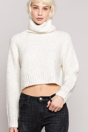 Cream Acrylic Weave Crop Sweater