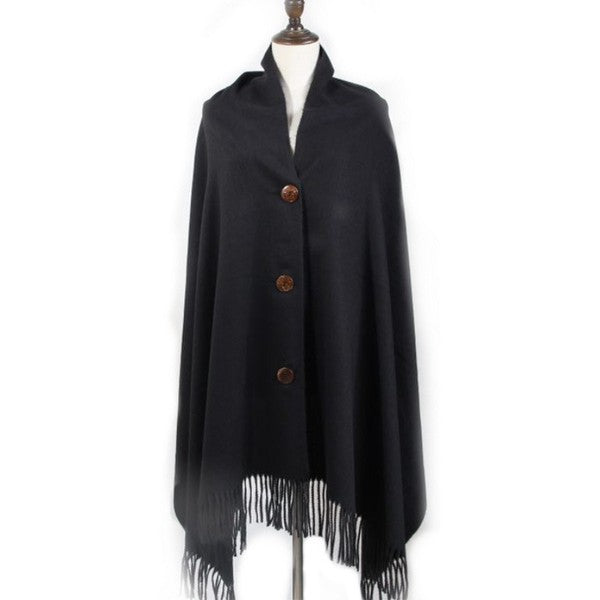 Black Button Poncho/Scarf