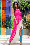 Pink Color Block Pleated Maxi Dress