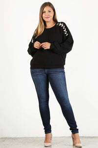 Plus Black Shoulder Lace Up Sweatshirt