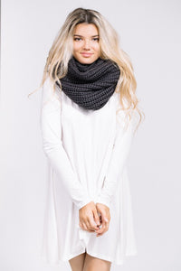 Charcoal Infinity Loop Knit Scarf