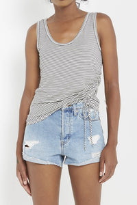 White Stripe Ruched Tank
