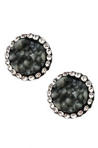 Grey Studded Faux Stone Studs