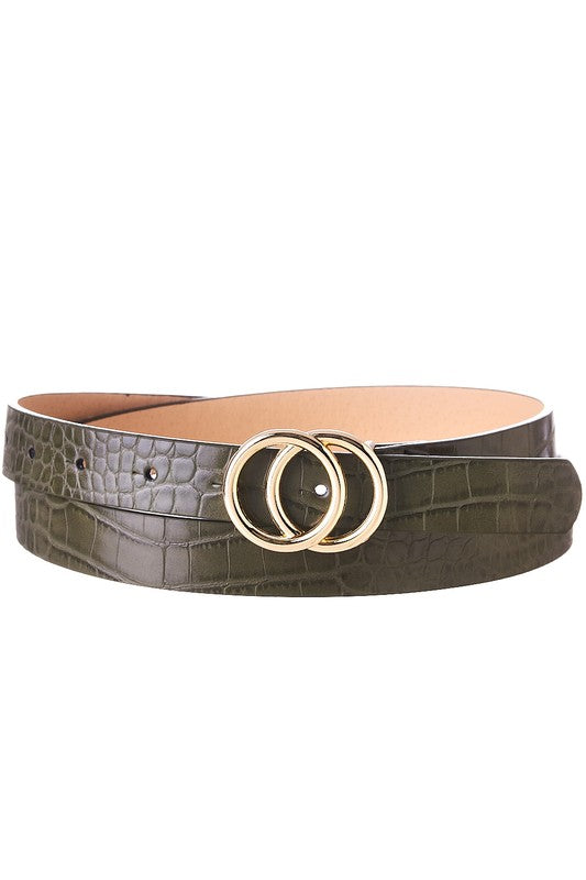 Olive Green Faux Crocodile Double O Belt