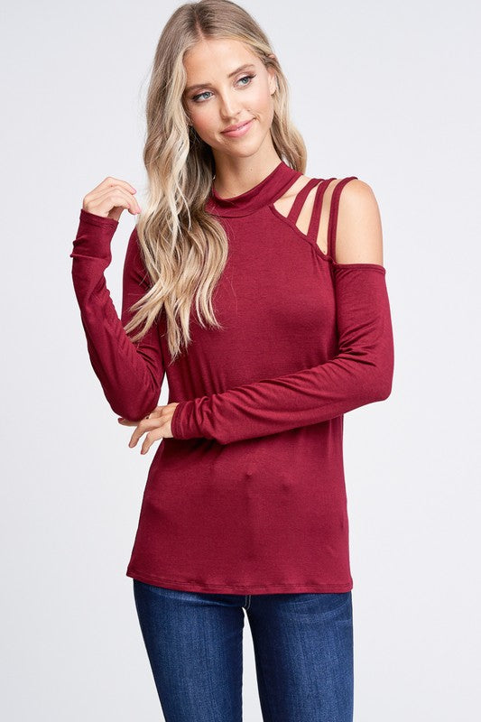Strappy Shoulder Knit Top