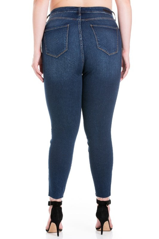 Cello Plus High Rise Raw Hem Crop Skinny