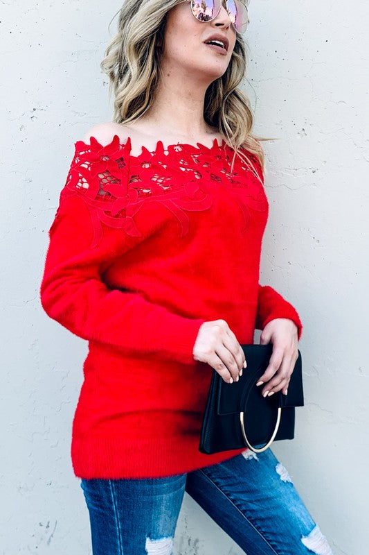 Red Lace Panel Off Shoulder Sweater