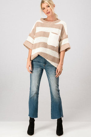 Taupe Stripe Oversized Short Sleeve Top