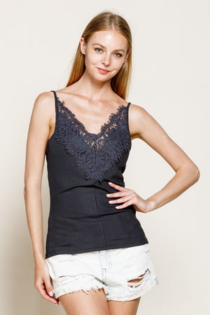 Laced Front Ribbed Cami