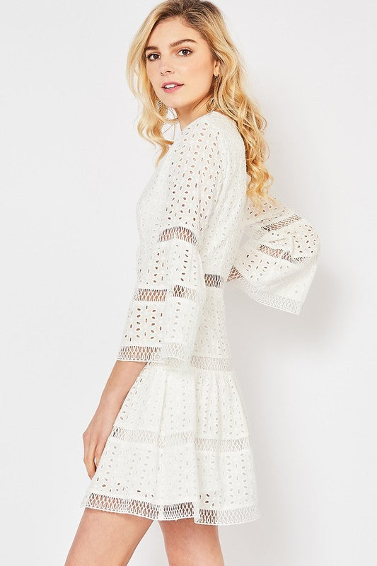 White Eyelet Lace Surplice Dress