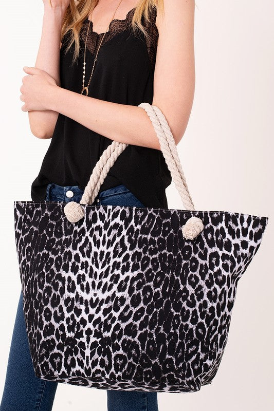 Black Leopard Print Tote Bag