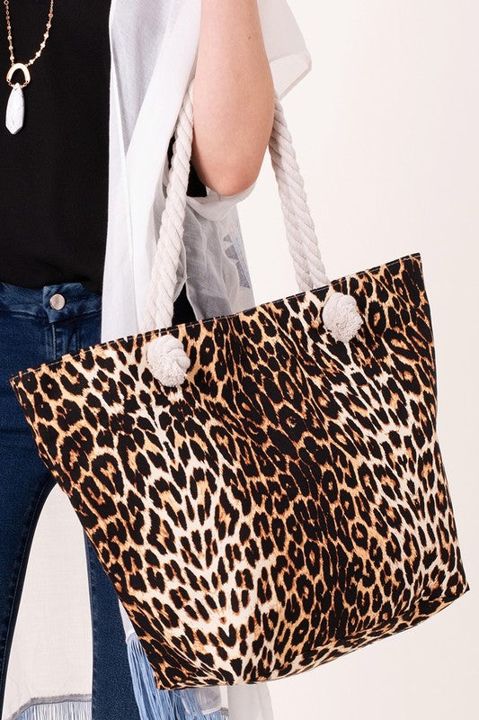 Brown Leopard Print Tote Bag