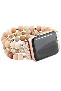 Pink Beaded Watch Band