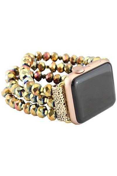 Bronze Beaded Watch Band