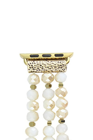 Beige Beaded Watch Band