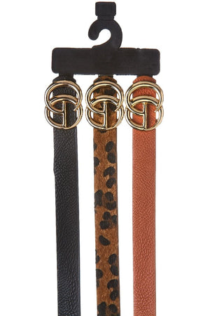Three piece skinny belt set with GO buckle