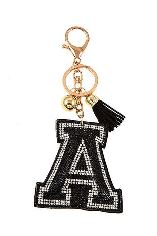 Black A Letter Key Chain