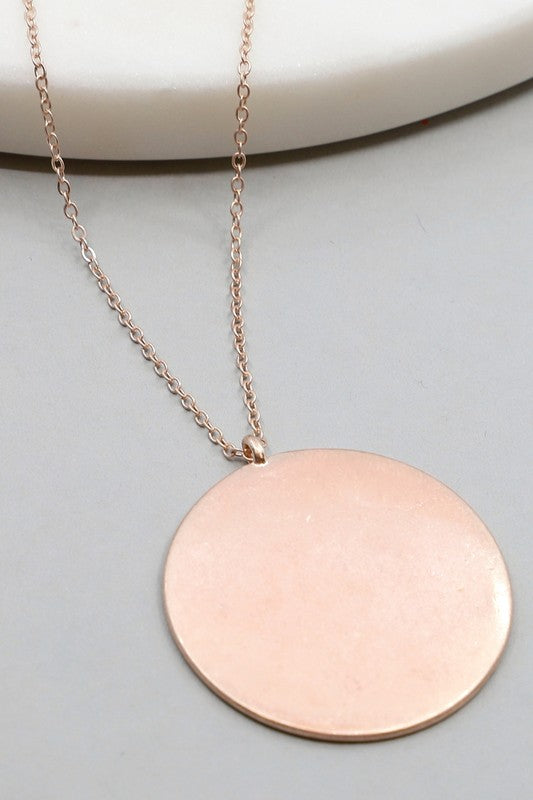 Rose Gold Round Metal Pendant