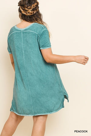 Plus Peacock Washed V-Neck Tee Dress
