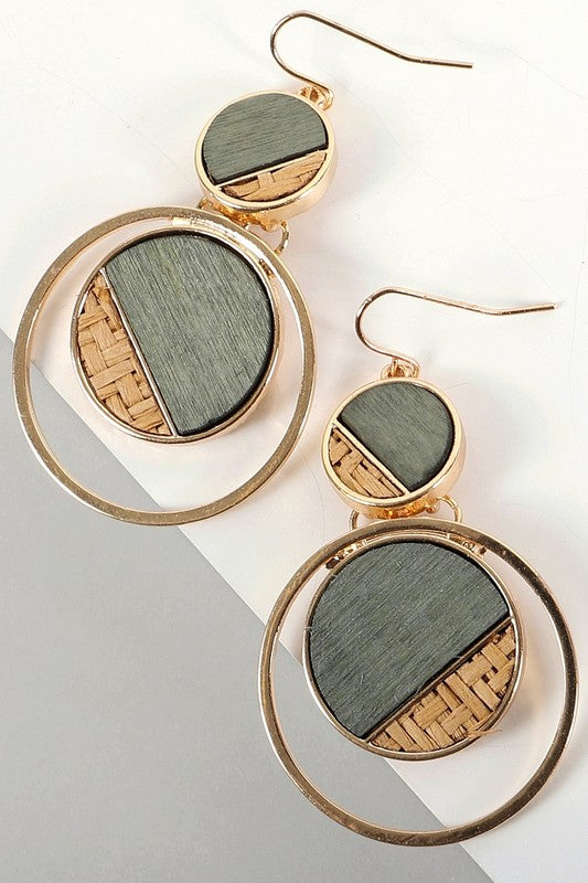 Green Round Drop Wood Detail Earring