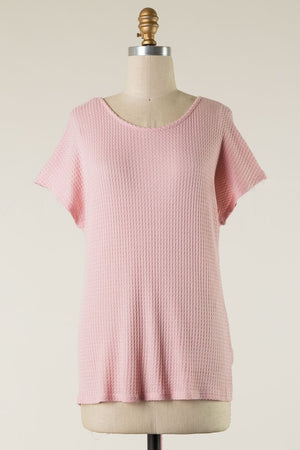Pink Waffle Ruched Back Tee