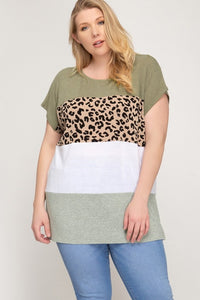 Plus Leopard Olive Color Block Top