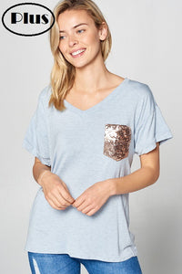 Plus Blue Chambray Sequin Pocket V-Neck Tee