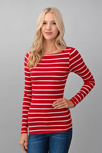 Red Stripe Boat Neck Top