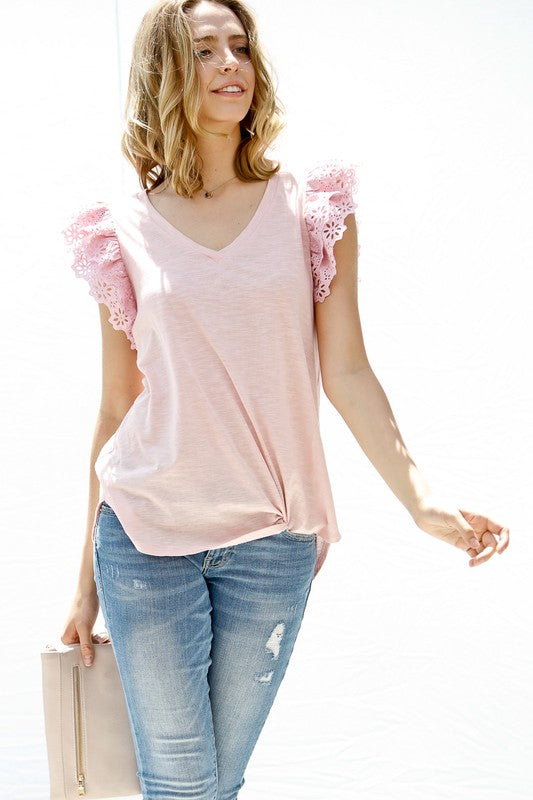 Blush Lace Ruffled Top