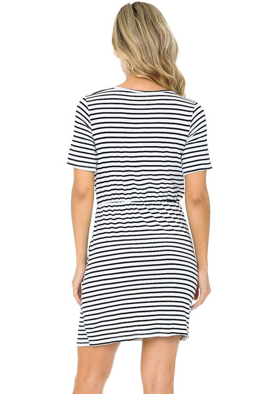 Ivory Stripe Waist Tie Dress