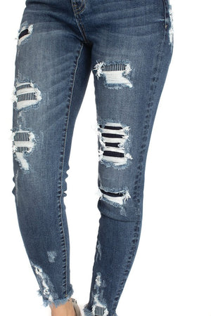 Kan Can Stripe Distressed High Rise Skinny
