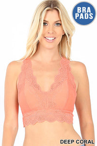 Deep Coral Lacy Bralette